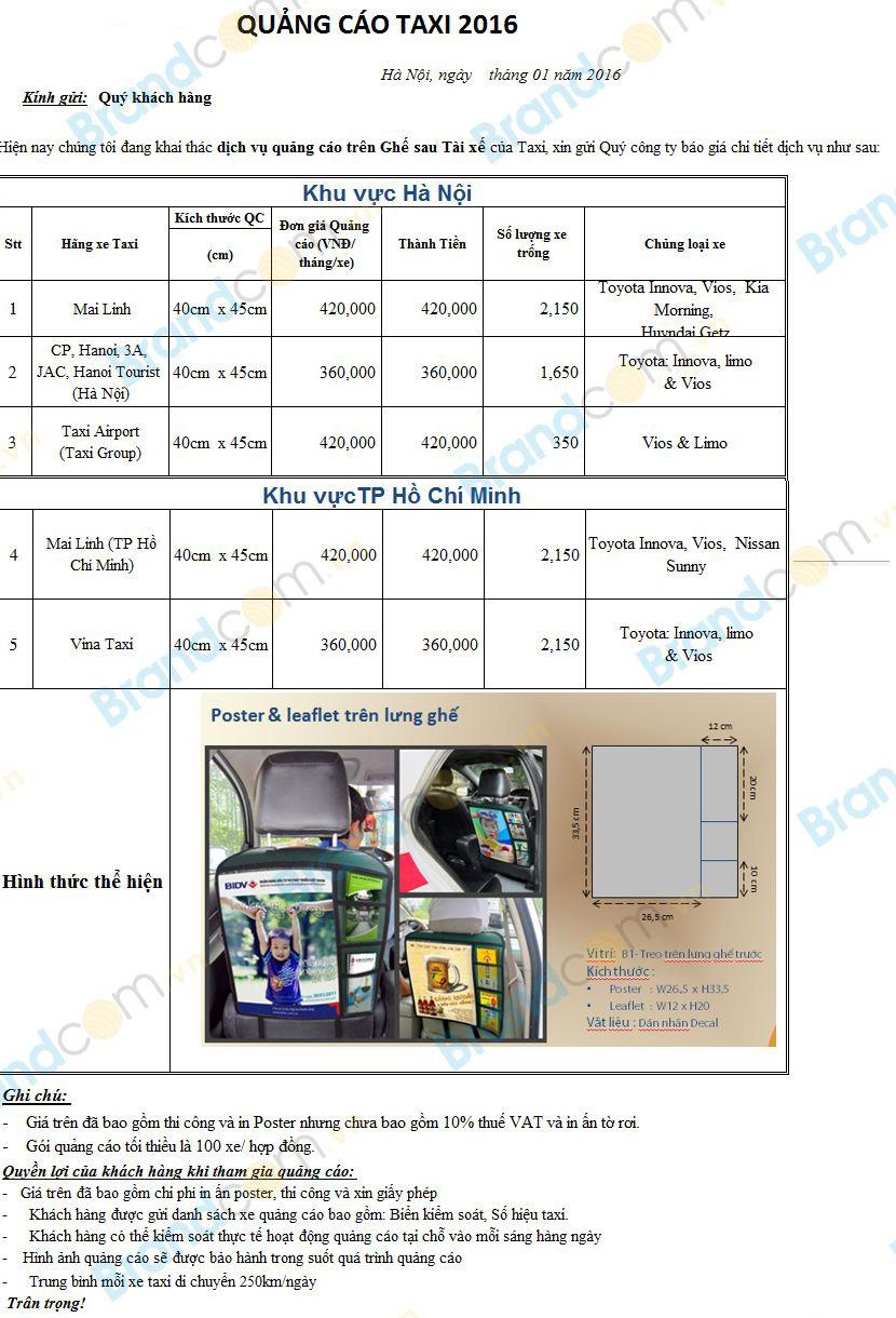 Bảng giá quảng cáo trên taxi tại Hà Nội – TP HCM