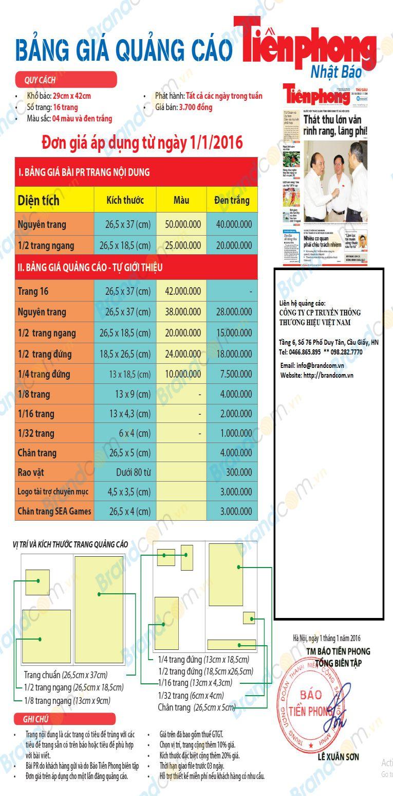 Báo giá quản cáo trên báo Tiền Phong